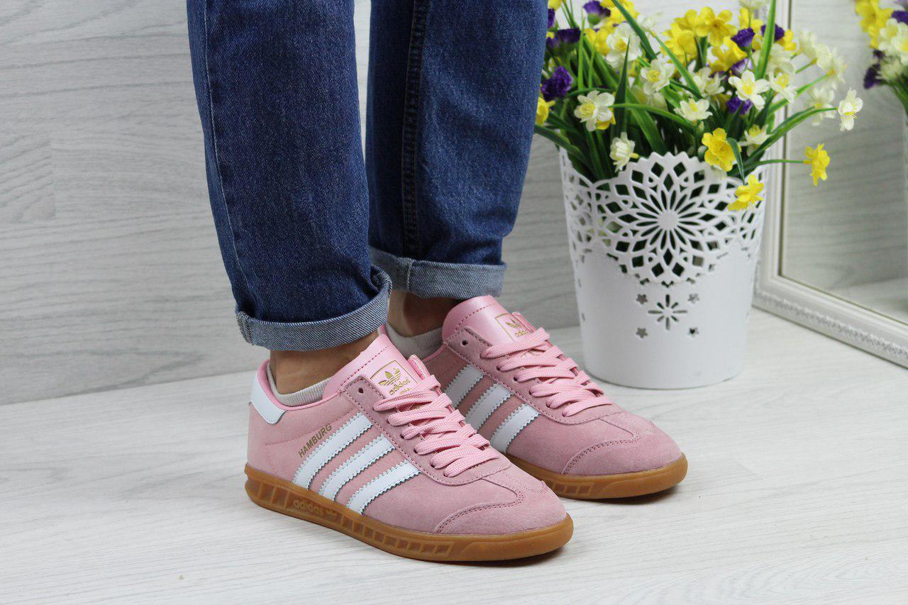 Кроссовки женские Adidas Hamburg  (розовые), ТОП-реплика