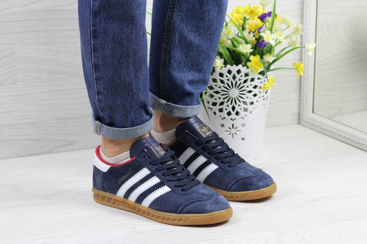 Кроссовки женские Adidas Hamburg  (синие с белым), ТОП-реплика