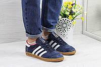 Кроссовки женские Adidas Hamburg  (синие с белым), ТОП-реплика, фото 1