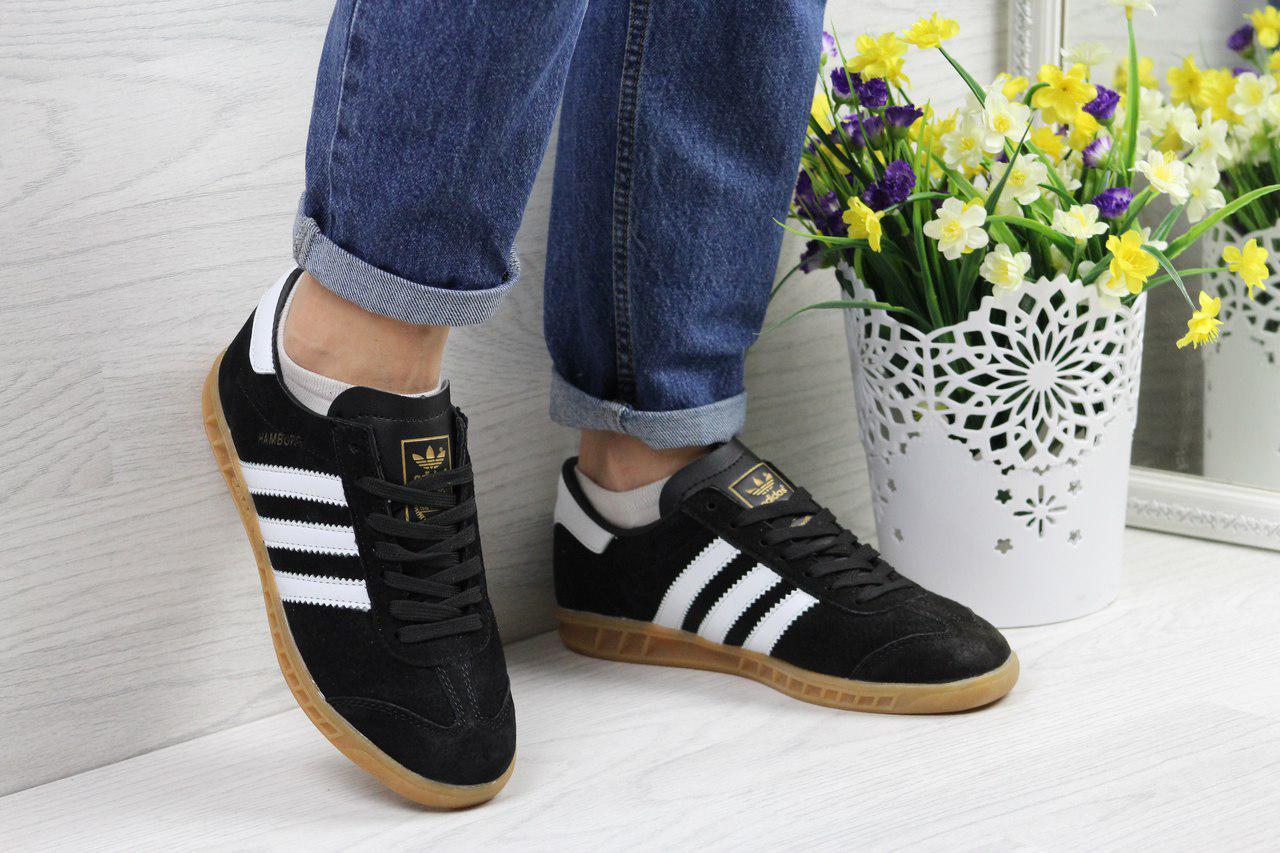 Кроссовки женские Adidas Hamburg  (черно-белые), ТОП-реплика