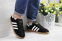 Кроссовки женские Adidas Hamburg  (черно-белые), ТОП-реплика, фото 1