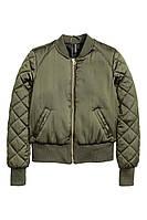 Женская атласная куртка бомбер H&M, цвет хаки, в наличии  S M
