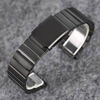Браслет для часов из нержавеющей стали, литой, матовый, черный. 22-й размер.