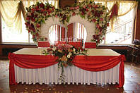 Оформление свадебного стола и фона тканями, оформление тканями столов