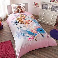 Постельное белье подростковое Winx Flora Water Colour 160х220 ранфорс Tac