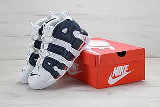 Мужские кроссовки Nike Air More Uptempo White/Black, найк аир мор, реплика
