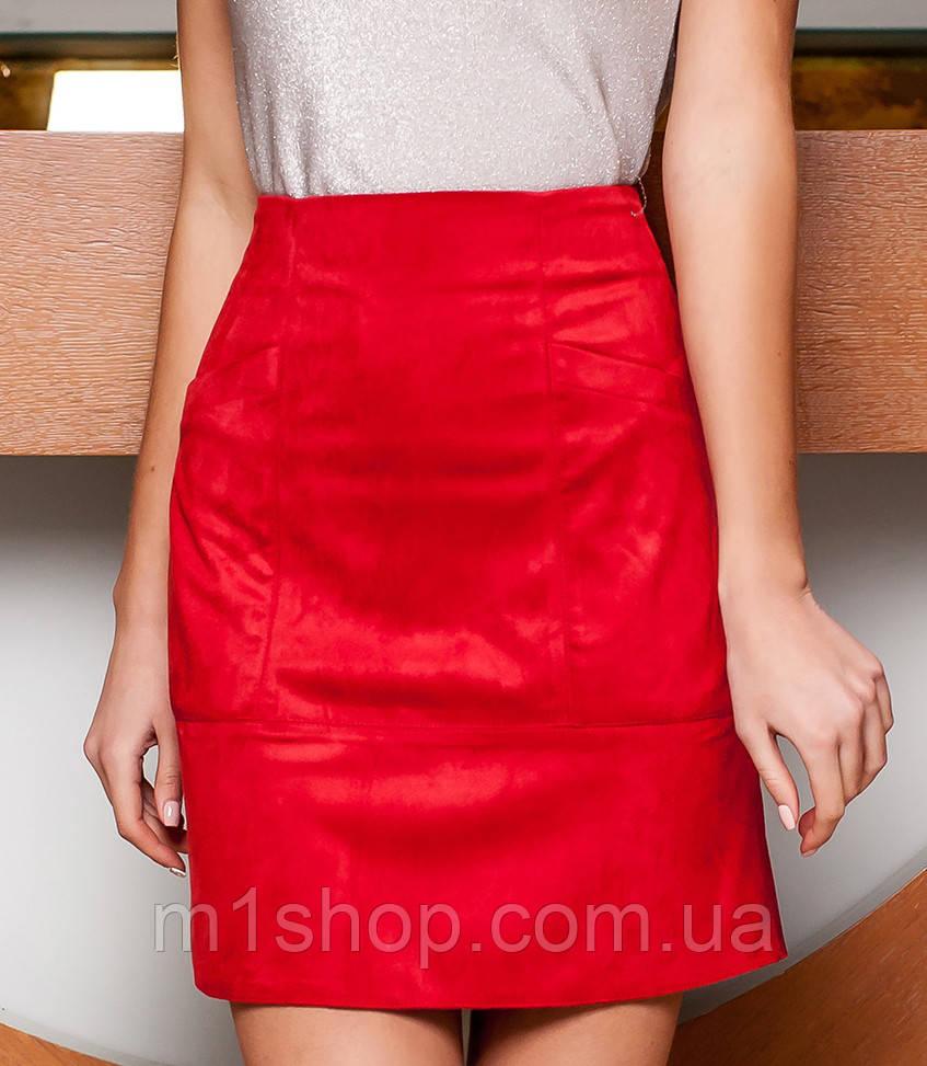 Женская замшевая юбка с карманами (Ирис jd)