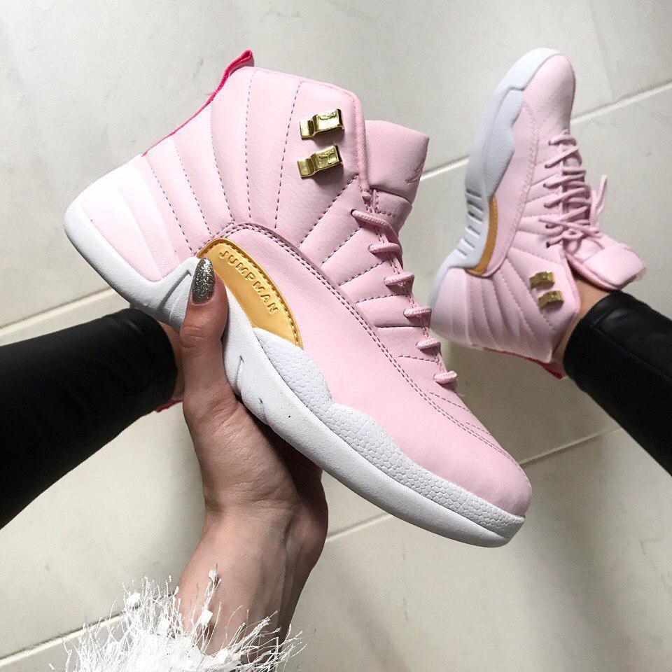 Женские кроссовки Air Jordan 12 White/Pink , Копия