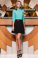 Аккуратная классическая женская блуза Лоренсити бирюзового цвета