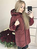 Удлиненная женская куртка синтепон 42 - 46 рр.