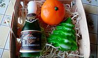 """Подарочный/сувенирный Семейный набор мыла для рук """"Шампанское+Мандарин+Елочка"""""""