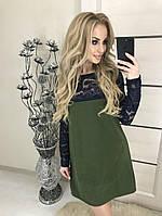 Стильное платье с кружевом хаки 42 - 46р