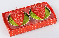 Набор декоративных свечей в металлических подсвечниках 2шт Клубника 6*5.2см