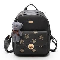 Рюкзак женский городской из  эко кожи со звездами  (серый)