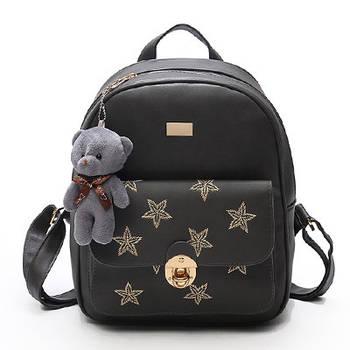Модний рюкзак жіночий міський. Рюкзак для дівчинки з екошкіри з зірками (сірий)