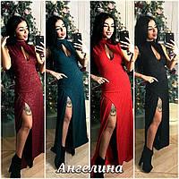 Платье с разрезом на груди вырез капля в расцветках HQ-12.004(17)