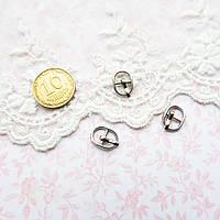 Мини пряжка для кукольной одежды и сумок, овал, 10*8 мм - серебро