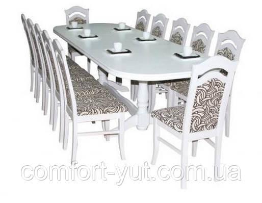 Стол Престиж белый 200(+40+40)*100 обеденный раскладной деревянный