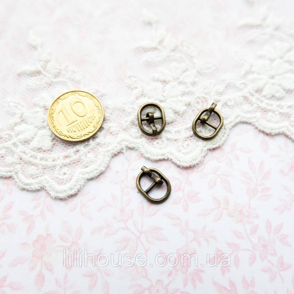 Мини пряжка для кукольной одежды и сумок, овал, 10*8 мм - бронза, 5 шт
