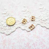 Мини пряжка для кукольной одежды и сумок, прямоугольная, 9*7 мм - золото