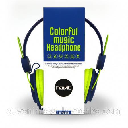 Наушники Havit HV-H2198D, синий с зеленым, с микрофоном
