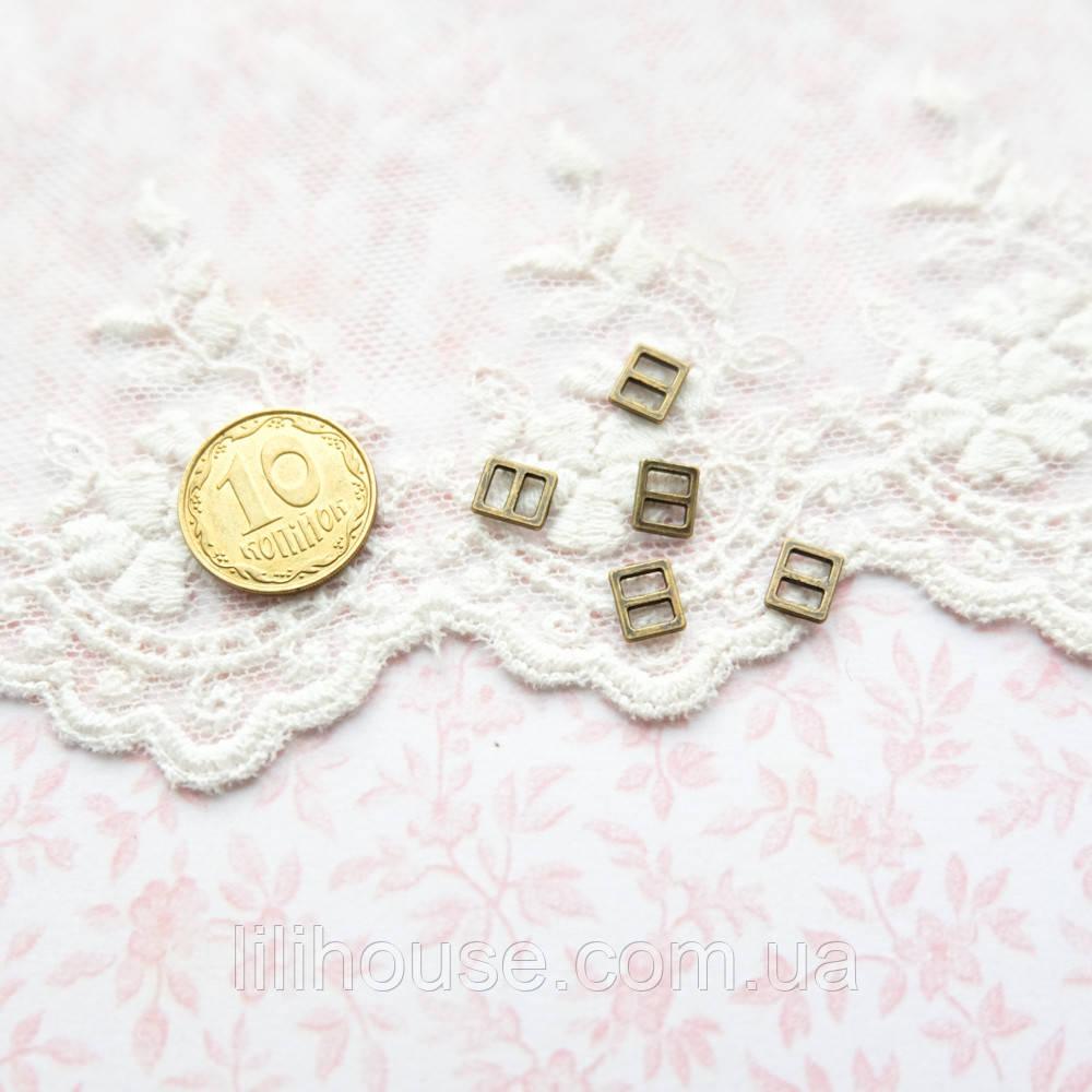 Мини Пряжки для Кукольной Одежды и Сумок 6*5 мм БРОНЗА 5 шт