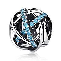 """Шарм Pandora Style (стиль Пандора)  """"Галактика с голубыми камнями"""""""