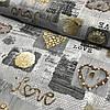 Ранфорс Прованс с сердцами Love на сером фоне, ширина 220 см
