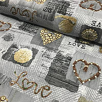 Ранфорс Прованс с сердцами Love на сером фоне, ширина 220 см, фото 1