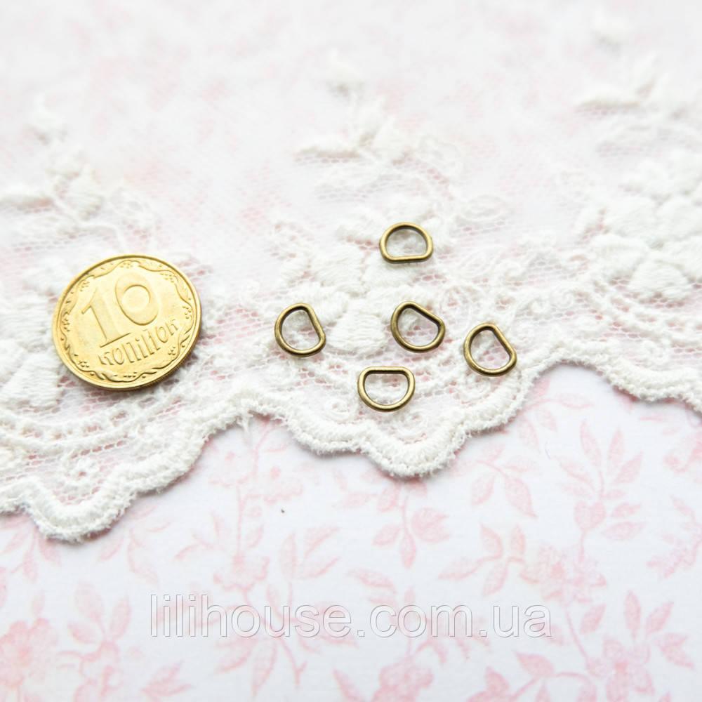 Полукольцо мини для кукольной одежды и сумок, 6*5 мм - бронза, 5 шт