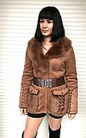 Дубленка женская средней длины светло коричневая, фото 1