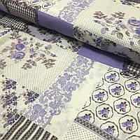 Бязь Прованс лоскуты с сиреневыми цветами, ширина 220 см, фото 1