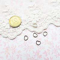 Полукольцо мини для кукольной одежды и сумок, 6*5 мм - серебро, 5 шт