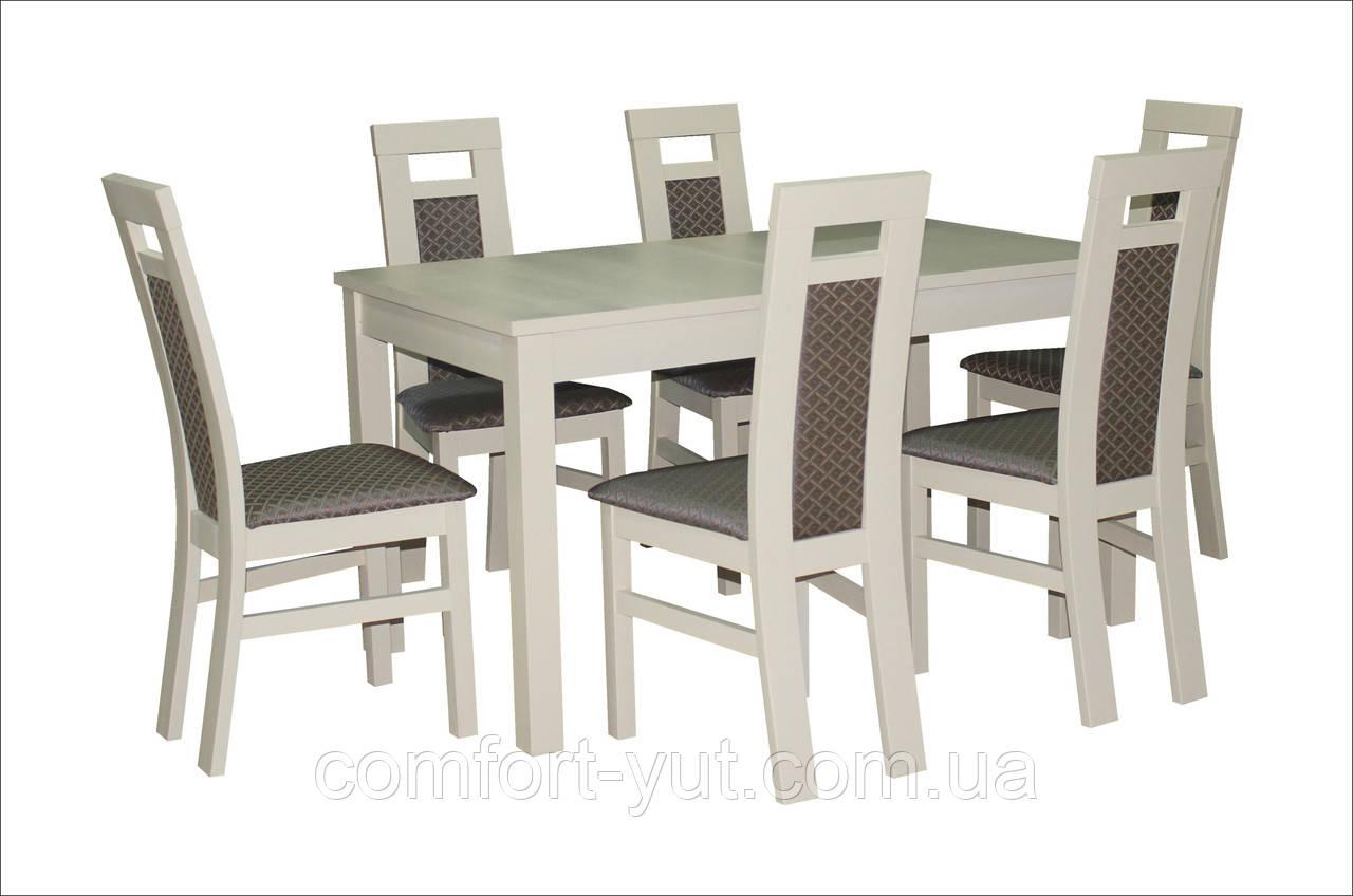 Стол Модерн бежевый 140(+40)*80 обеденный раскладной деревянный