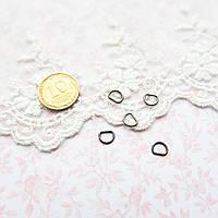 Полукольцо мини для кукольной одежды и сумок, 6*5 мм - гунметал, 5 шт