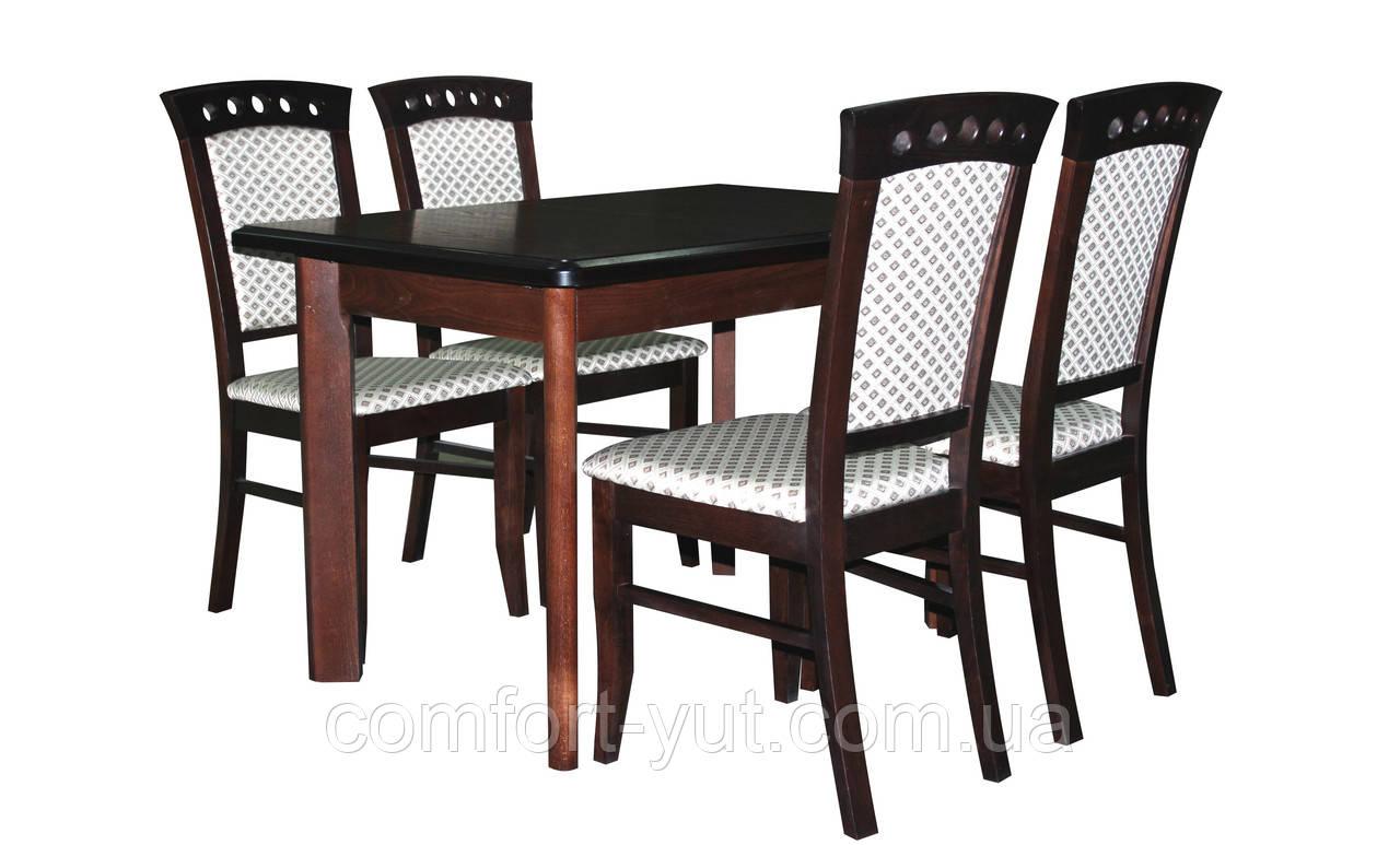 Стол Комфорт орех120(+40+40)*80 обеденный раскладной деревянный