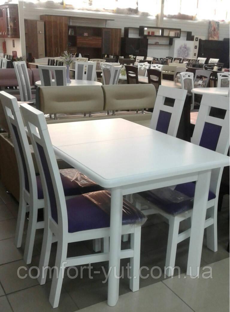 Стол Комфорт белый\бежевый\ваниль 120(+40+40)*80 обеденный раскладной деревянный