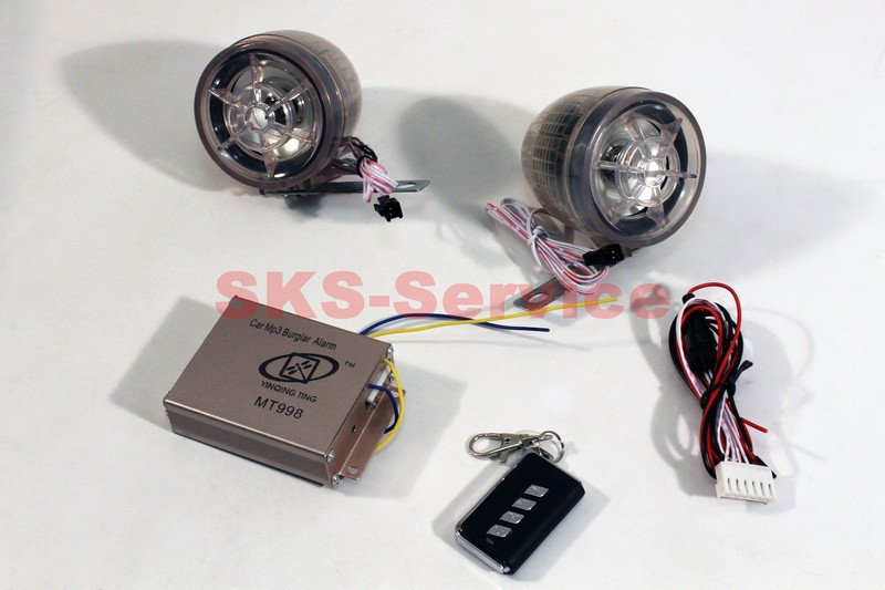Колонки на мототехнику с сигнализацией +МРЗ-USB/SD+FM-радио с светомузыкой