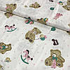 Сатин с мишками, игрушками и сердечками, ширина 160 см
