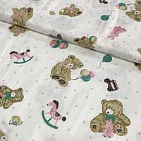 Сатин с мишками, игрушками и сердечками, ширина 160 см, фото 1