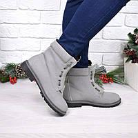 Ботинки женские демисезонные серые, обувь женская