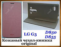 Розовый оригинальный кожаный чехол Mofi для смартфона LG G3 D850 D855 эко кожа PU, фото 1
