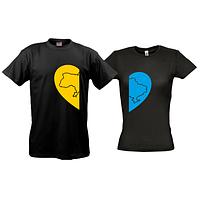 Парные футболки с сердечками с картой Украины