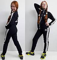 Детский спортивный костюм АДИДАС начес, темно-синий, р.104-160