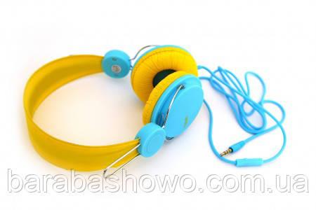 Наушники Havit HV-H2198D, желто-голубые, с микрофоном