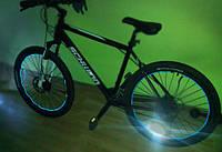 Подсветка на колеса велосипеда неоновым проводом.