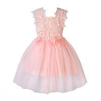 Платье детское нарядное кружевное Весна на 3-6лет. цвет пудра
