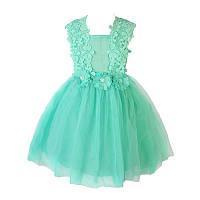 Платье детское нарядное кружевное Весна на 3-6лет. цвет мята