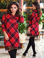 Платье с рубашечным воротником, с принтом, украшено кружевом / 2 цвета арт 3514-556