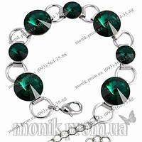 Браслет с изумрудными (зелеными) кристаллами Сваровски (Swarovski)